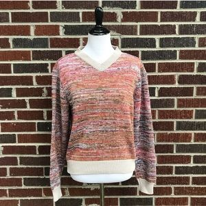 JACHS Multi-Color 90's V-Neck Sweater size Medium